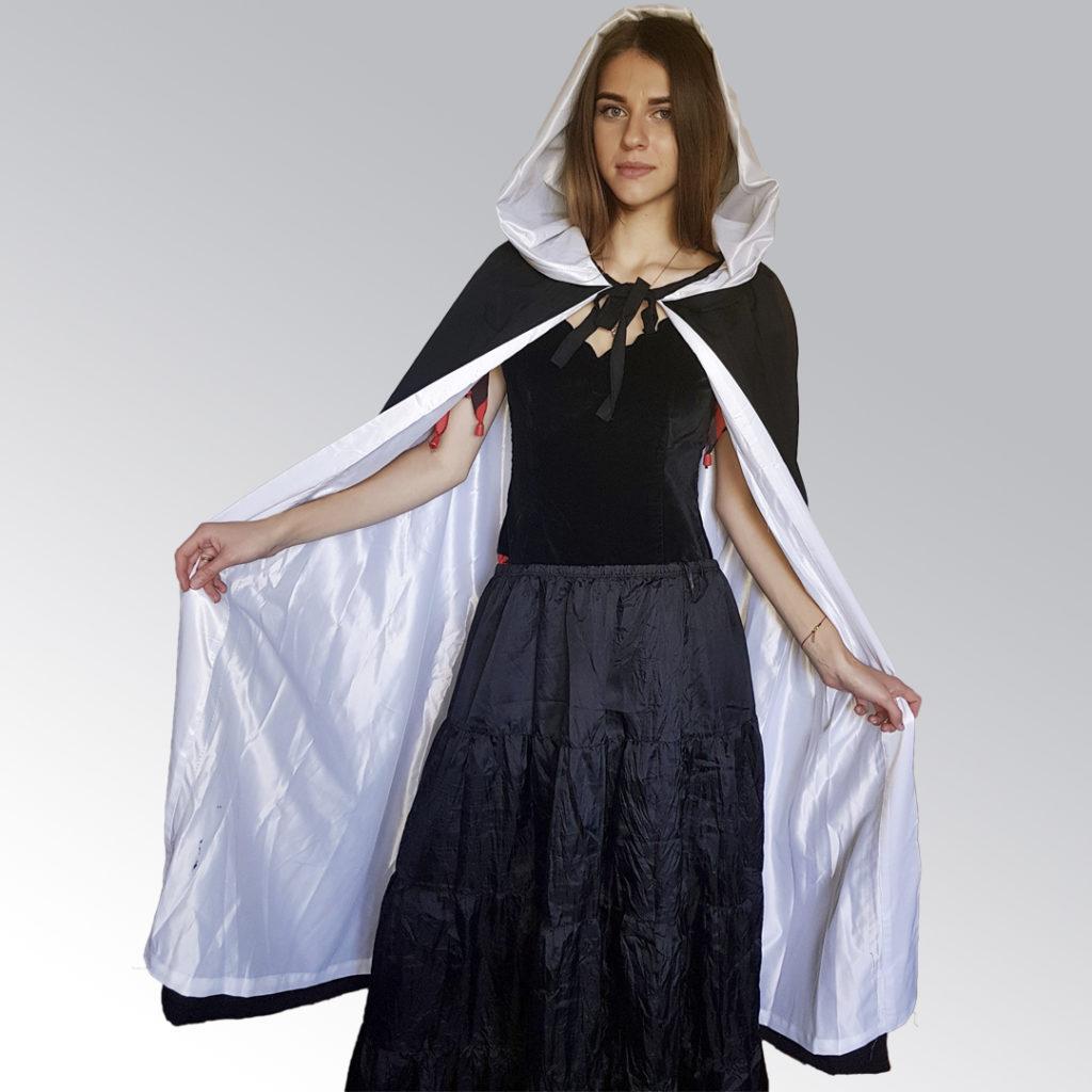Платье Ведьмы с бело-черным плащем