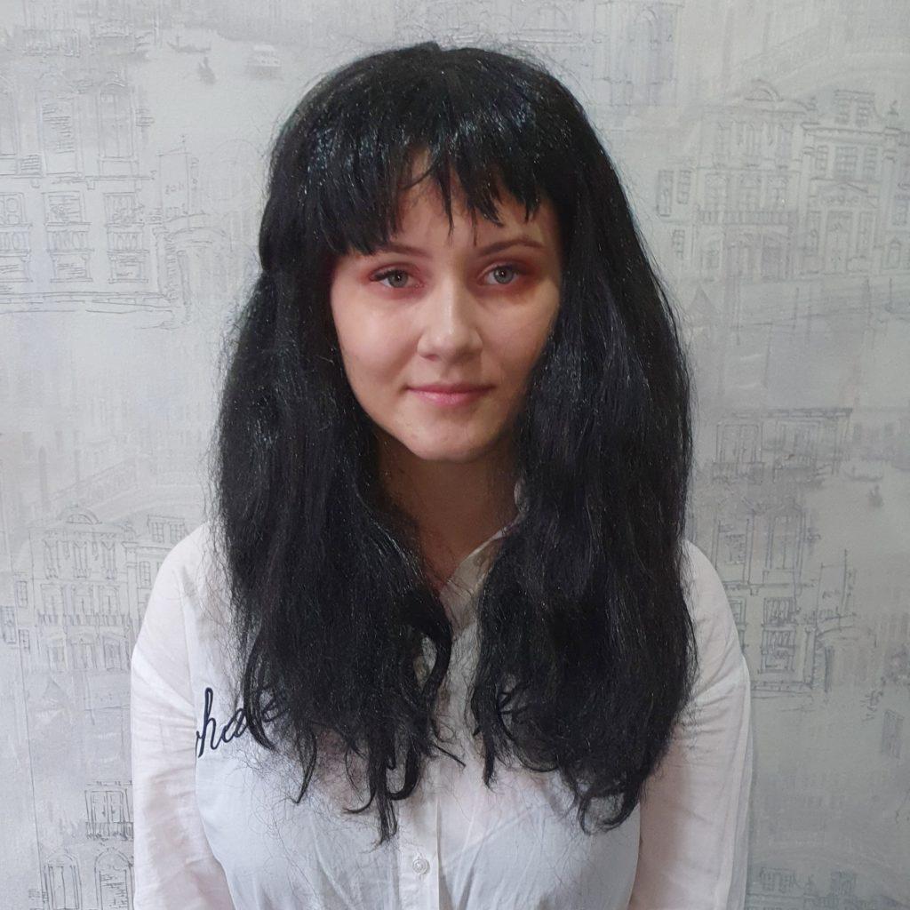 Парик черный, прямые волосы