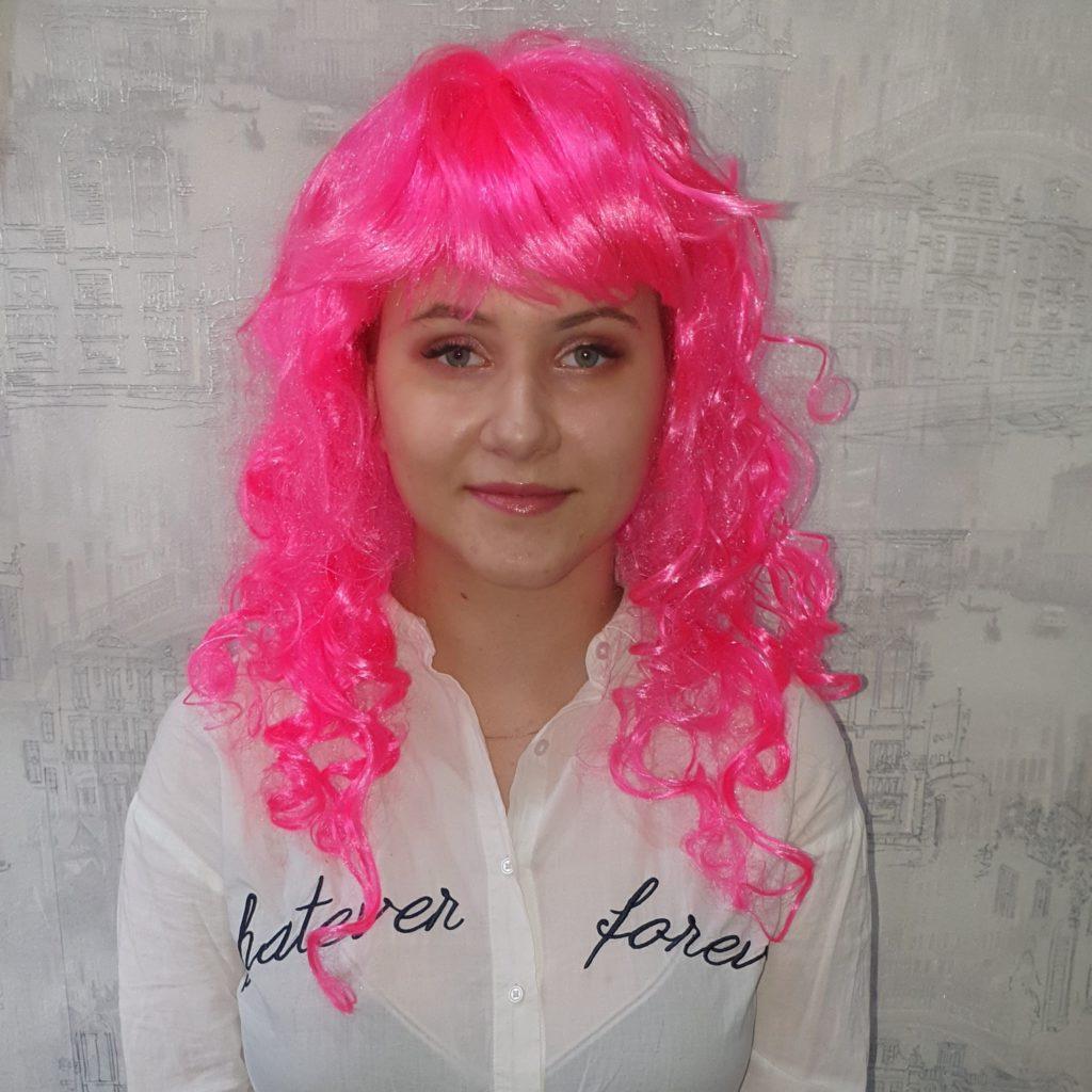 Парик розовый, длинные волосы